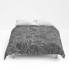 Modern hand drawn gray white leaves pattern Comforters