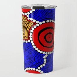 Authentic Aboriginal Art - Circles Travel Mug