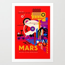 NASA Mars The Red Planet Retro Poster Futuristic Best Quality Art Print
