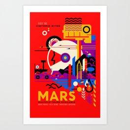 NASA Mars The Red Planet Retro Poster Futuristic Best Quality Art Print