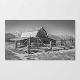 Barn in Wyoming Black and White Gifts Canvas Print
