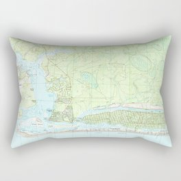 Oak Island North Carolina Map (1990) Rectangular Pillow