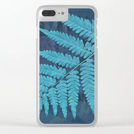From the forest - light blue on lavender Clear iPhone Case