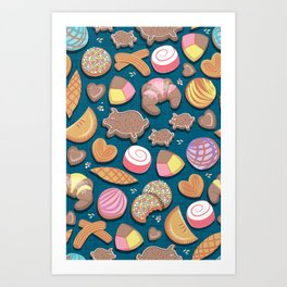 Mexican Sweet Bakery Frenzy // turquoise background // pastel colors pan dulce Art Print