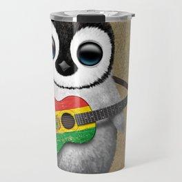 Baby Penguin Playing Bolivian Flag Acoustic Guitar Travel Mug