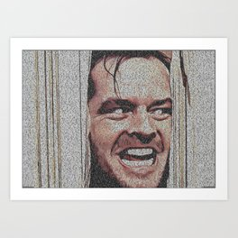 Text Portrait of Jack Torrance with Full Script of Shining Art Print