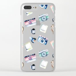 Snappy Watercolor Camera Pattern Clear iPhone Case