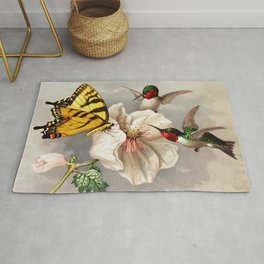 Ruby-throated Hummingbirds & Butterfly Portrait Rug