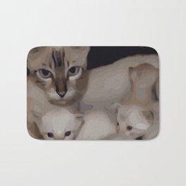 Luna the snow bengal cat with her kittens Bath Mat