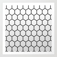 hexagon Art Prints featuring Hexagon by Thomas Official