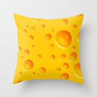 cheese Throw Pillows featuring Cheese by Mikibo