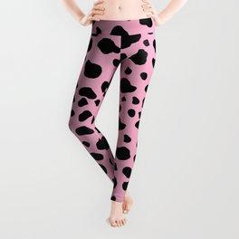 Animal Print (Cow Print), Cow Spots - Pink Black Leggings