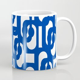 Bright Blue and White Mid-century Modern Loop Pattern  Coffee Mug
