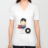 super hero V-neck T-shirts featuring My Super hero! by Juliana Rojas | Puchu