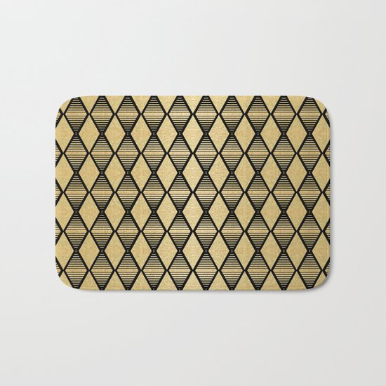 Black and Gold Geometric Pattern Bath Mat