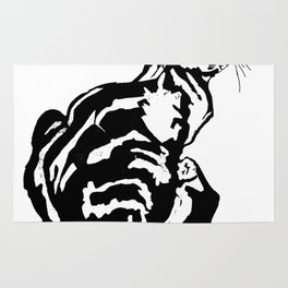 Black And White Seated Tabby Cat Rug