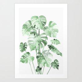 Delicate Monstera Green #society6 Art Print