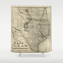 Old Map of Texas 1876 Vintage Wall map Restoration Hardware Style Map Shower Curtain