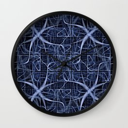 Dark Thoughts Mind Map Abstract in Blue Wall Clock