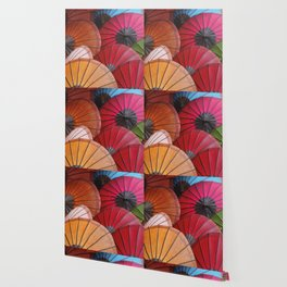 Paper Colored Umbrellas from Laos Wallpaper