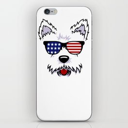 Westie Dog Face with American Flag Sunglasses iPhone Skin
