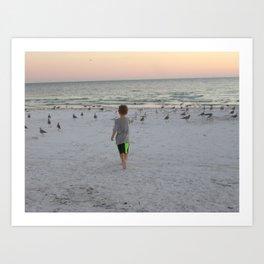 Child contemplating God's glory Art Print