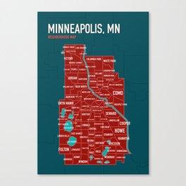 Minneapolis Map of Neighborhoods no. 1 Canvas Print