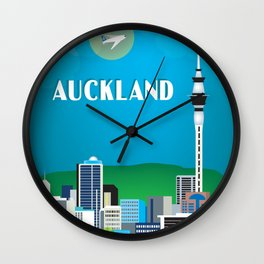 Auckland, New Zealand - Skyline Illustration by Loose Petals Wall Clock