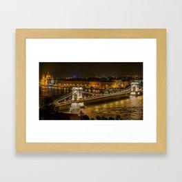 Budapest Bridge Water Chain bridge Framed Art Print