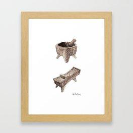 Molcajete and Metate Framed Art Print