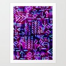Tapa Tribal Purple Art Print