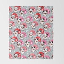Kyoto Kitty on Grey Throw Blanket