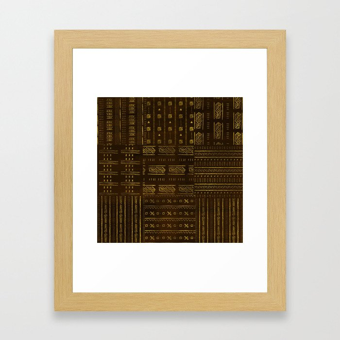 Gold African Tribal Pattern on rich brown texture Framed Art Print