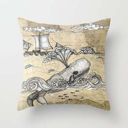 Vintage Whaler Throw Pillow