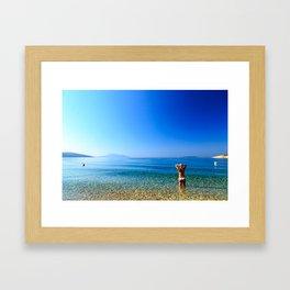 Girl at the sea in Croatia Framed Art Print