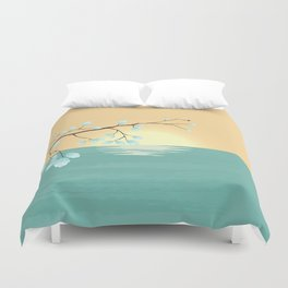 Delicate Asian Inspired Image of Pastel Sky and Lake with Silver Leaves on Branch Duvet Cover