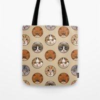 polka Tote Bags featuring Polka Meaw by Huebucket