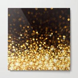Gold Ombre Glitter Metal Print