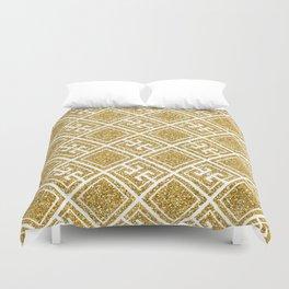 Gold Glitter Greek Pattern Duvet Cover