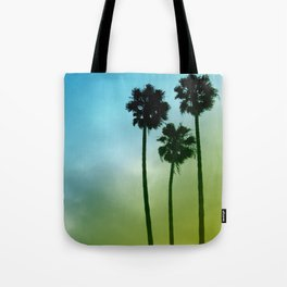 Palm Trees, Blue to Yellow Fade Tote Bag