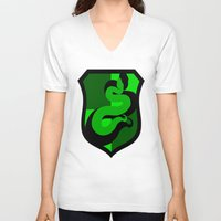 slytherin V-neck T-shirts featuring Slytherin Crest by Electric Unicorn