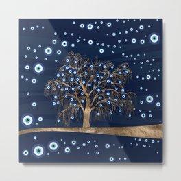 Nazar Charm Tree - Gold on Dark Blue Metal Print