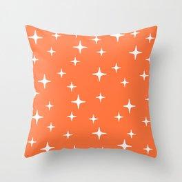 Mid Century Modern Star Pattern 443 Orange Throw Pillow