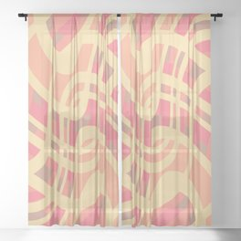 Wavy summer stripe Sheer Curtain