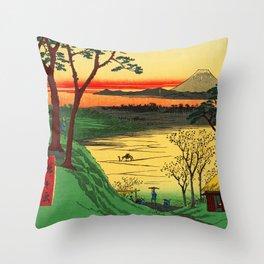 Japanese Tea House on River Throw Pillow