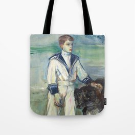 """Henri de Toulouse-Lautrec """"L'Enfant au chien, fils de Madame Marthe et la chienne Pamela-Taussat"""" Tote Bag"""