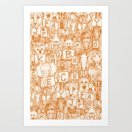 animal ABC orange ivory Art Print