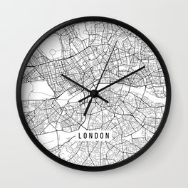 London Map, England - Black and White Wall Clock