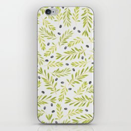 Watercolor Olive Branches Pattern iPhone Skin