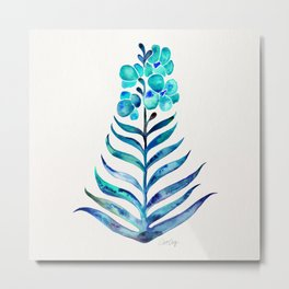 Blooming Orchid – Navy & Turquoise Palette Metal Print